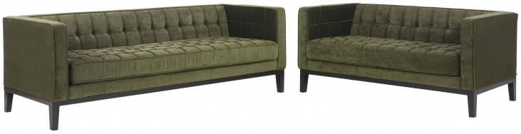 Roxbury Tufted Green Fabric Living Room Set