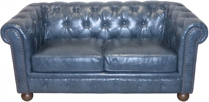 Winston Antique Blue Bonded Leather Loveseat