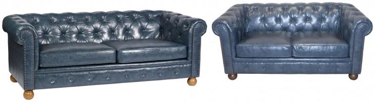 Winston Antique Blue Bonded Leather Living Room Set