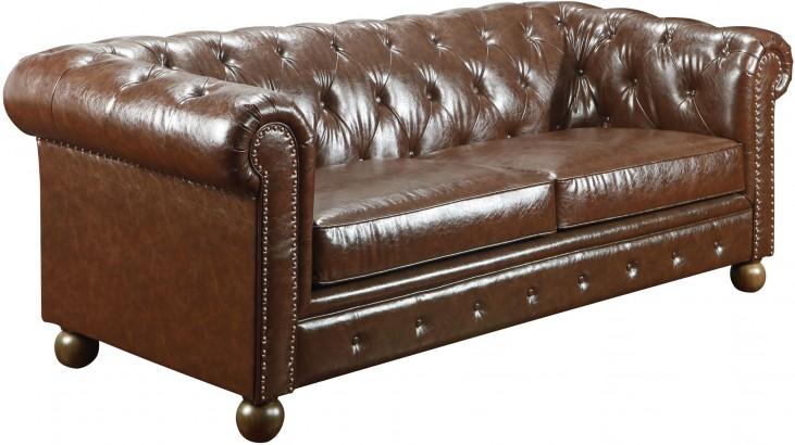 Winston Vintage Mocha Bonded Leather Sofa