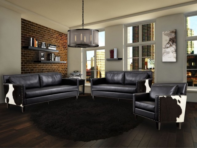 Dallas Black Leather Living Room Set