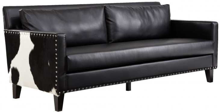 Dallas Black Leather Sofa
