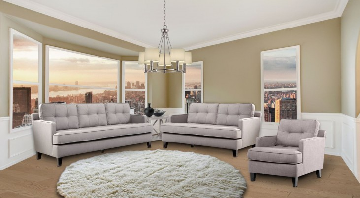 Eden Cement Gray Fabric Living Room Set