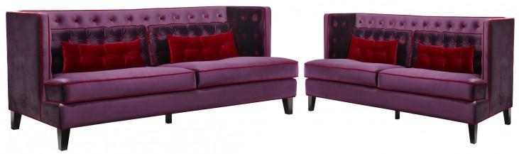 Moulin Purple Velvet Living Room Set