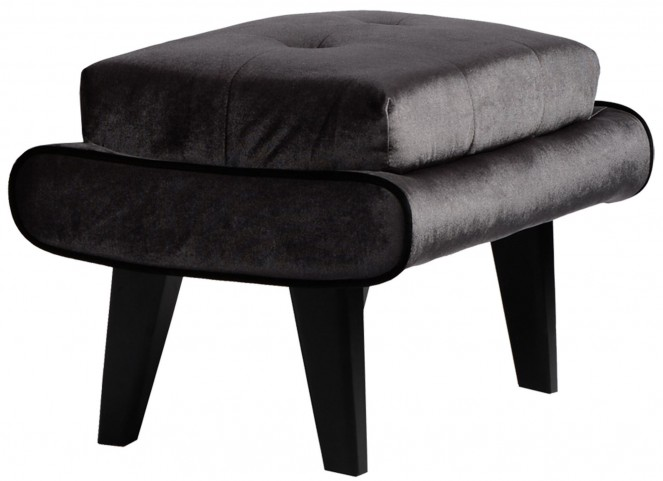 5Th Avenue Gray Velvet Ottoman