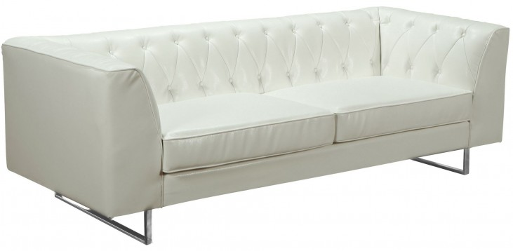 Troika White Bonded Leather Sofa