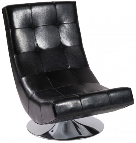 Mario Black Bonded Leather Swivel Chair