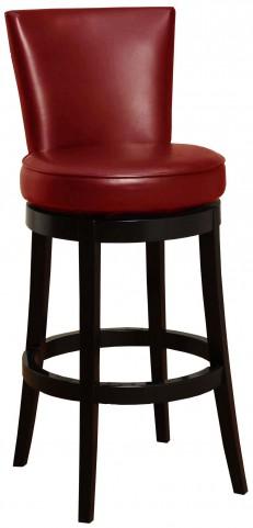 "Boston 26"" Red Bonded Leather Swivel Barstool"