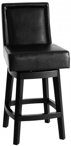 "Wayne 30"" Black Bonded Leather Swivel Barstool"