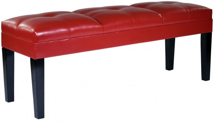Howard Red Bonded Leather Bench