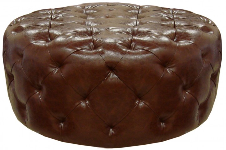 Victoria Brown Bonded Leather Ottoman