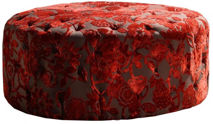 """Victoria 36"""" Red Velvet Round Ottoman"""
