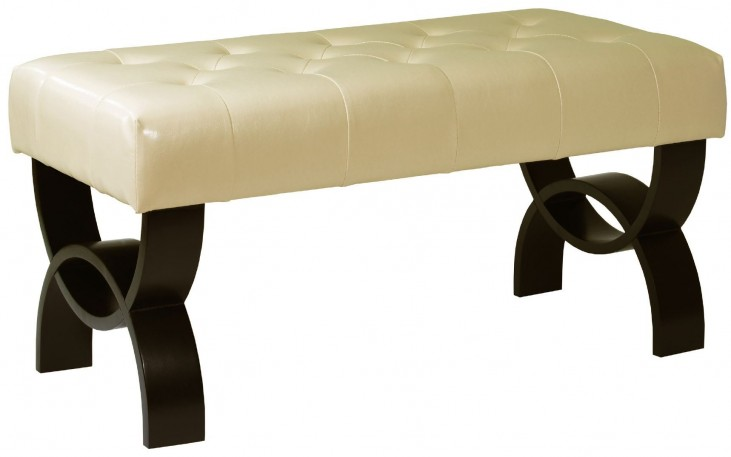 "Central Park 36"" Cream Bonded Leather Tufted Ottoman"