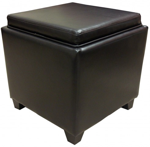 Rainbow Brown Bonded Leather Storage Ottoman with Tray