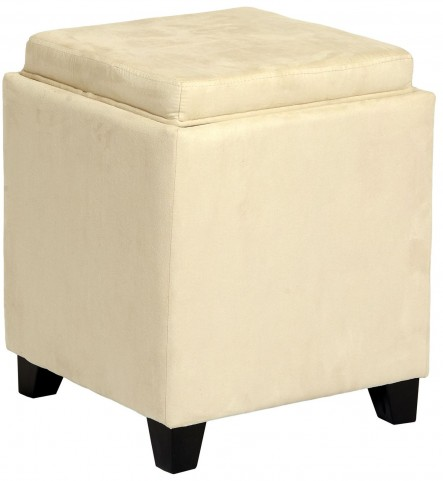 Rainbow Cream Microfiber Storage Ottoman