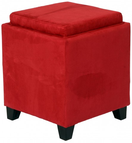 Rainbow Red Microfiber Storage Ottoman