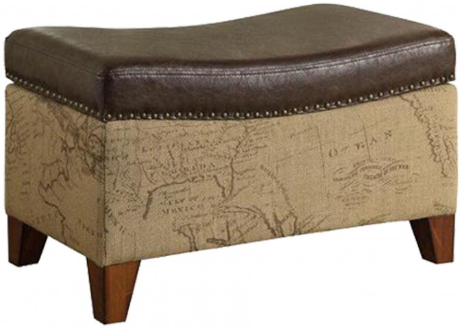 Storage Map Jute Fabric Ottoman