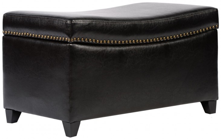 Congo Brown Bonded Leather Ottoman