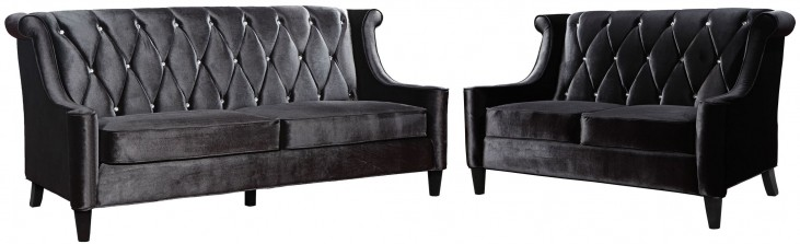 Barrister Black Velvet Living Room Set