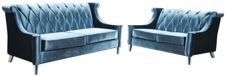 Barrister Blue Velvet Living Room Set