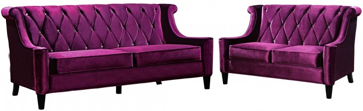 Barrister Purple Velvet Living Room Set