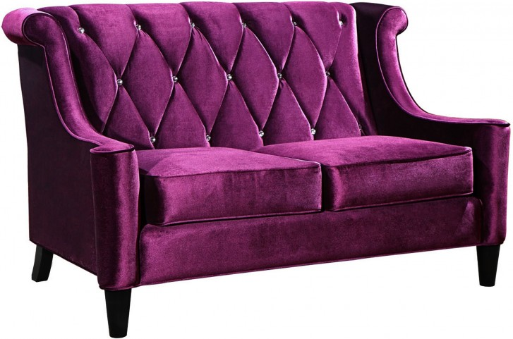 Barrister Purple Velvet Loveseat