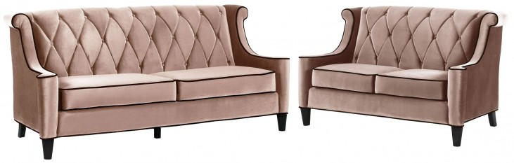 Barrister Caramel Velvet Living Room Set