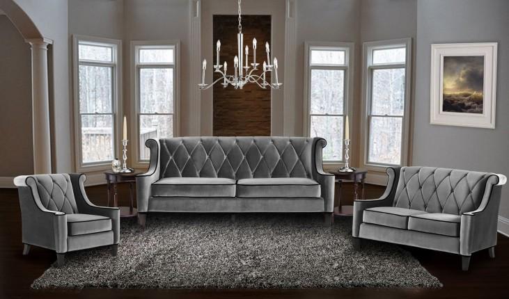 Barrister Gray Velvet Living Room Set