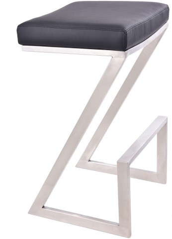 "Atlantis 26"" Black Stainless Steel Backless Barstool"