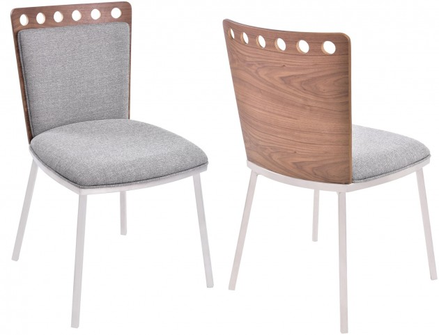 Brooke Grey Fabric Dining Chair Set of 2