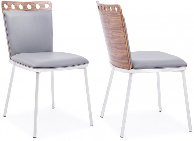 Brooke Grey Leather Dining Chair Set of 2