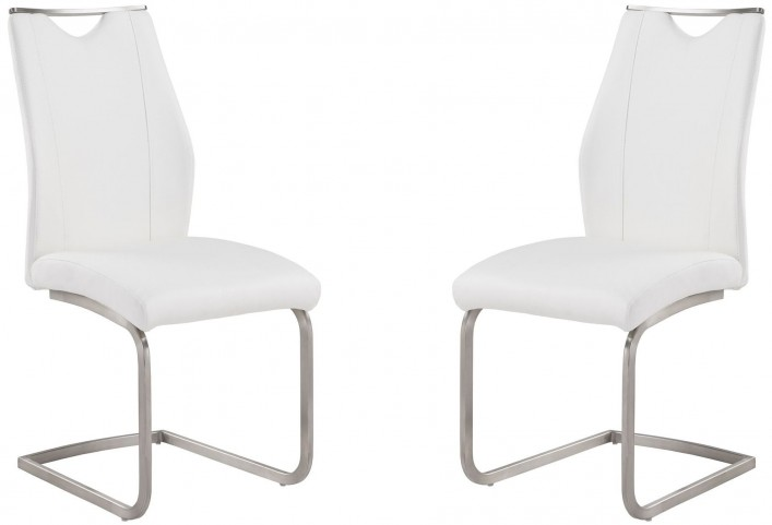 Bravo White and Stainless Steel Side Chair Set of 2
