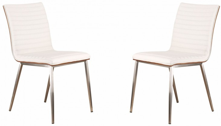 Cafe Brushed Stainless Steel White Dining Chair Set of 2
