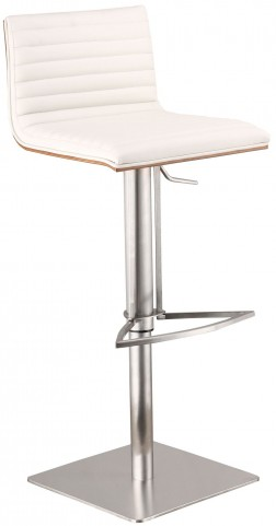 Cafe White Adjustable Barstool