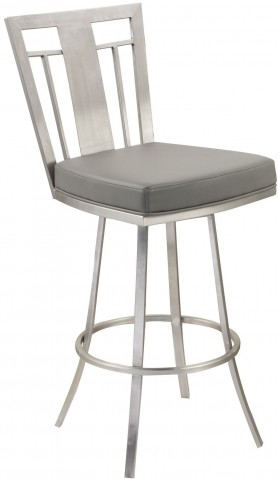 "Cleo 26"" Gray Swivel Barstool"