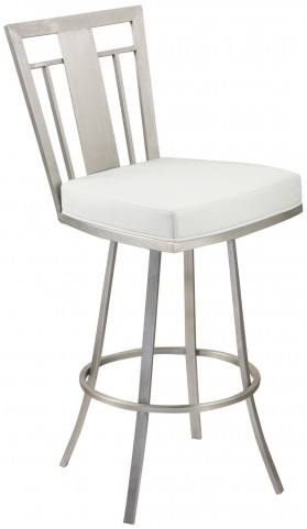 "Cleo 26"" White Swivel Barstool"