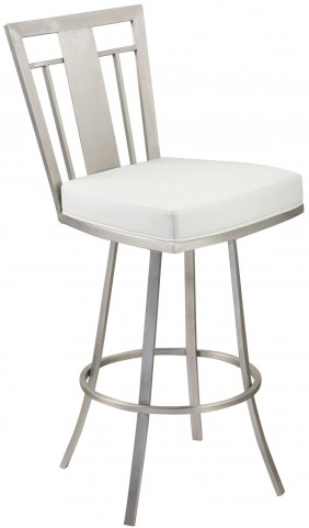 "Cleo 30"" White Swivel Barstool"