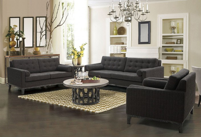 Centennial Charcoal Chenille Fabric Living Room Set