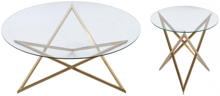 Crest Brushed Gold Occasional Table Set