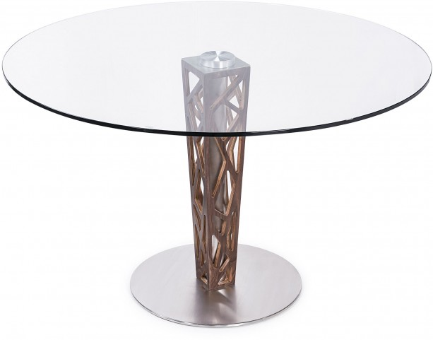 "Crystal 48"" Clear Tempered Glass Top Round Dining Table"