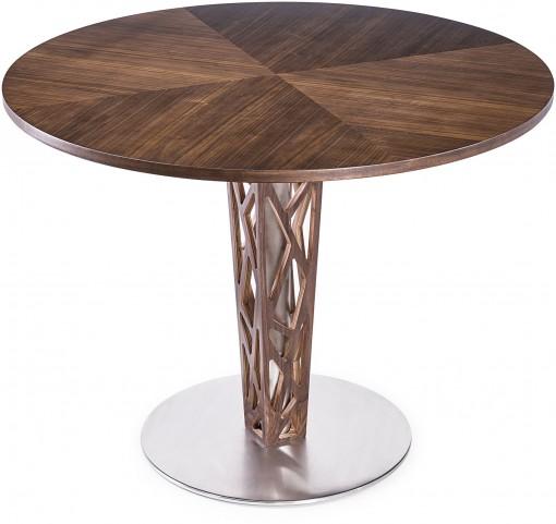 "Crystal 48"" Walnut Veneer Wood Top Round Dining Table"