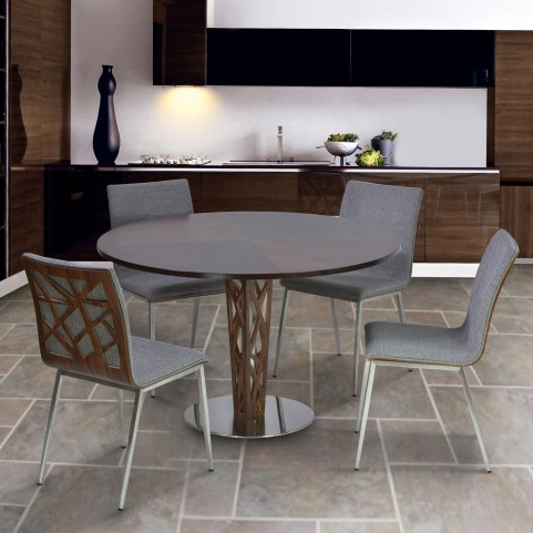 "Crystal 48"" Walnut Veneer Wood Top Round Dining Room Set"