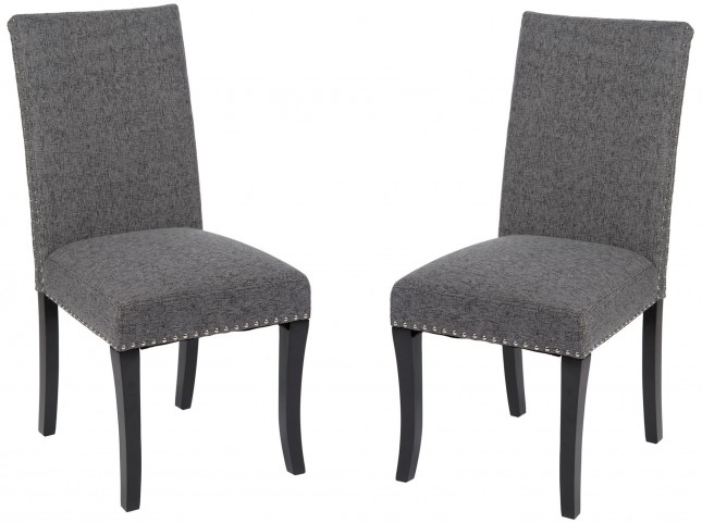 Deborah Charcoal Accent Nail Side Chair Set of 2