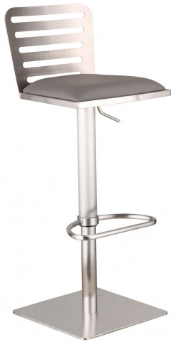 Delmar Gray Adjustable Brushed Stainless Steel Barstool