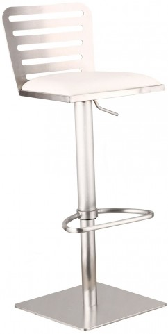 Delmar White Adjustable Brushed Stainless Steel Barstool