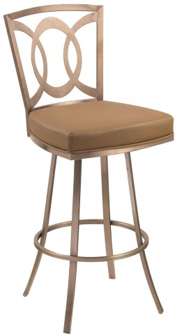 "Drake 26"" Camel and Gold Swivel Barstool"