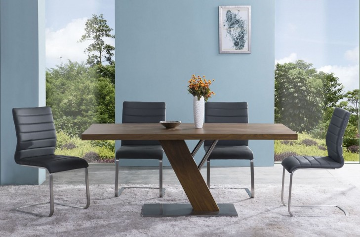 Fusion Contemporary Stainless Steel Dining Room Set