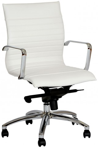 Hannah Contemporary White and Chrome Office Chair