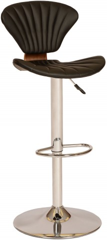 Lisa Modern Black and Chrome Swivel Barstool