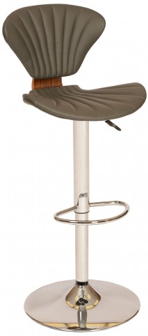 Lisa Modern Gray and Chrome Swivel Barstool
